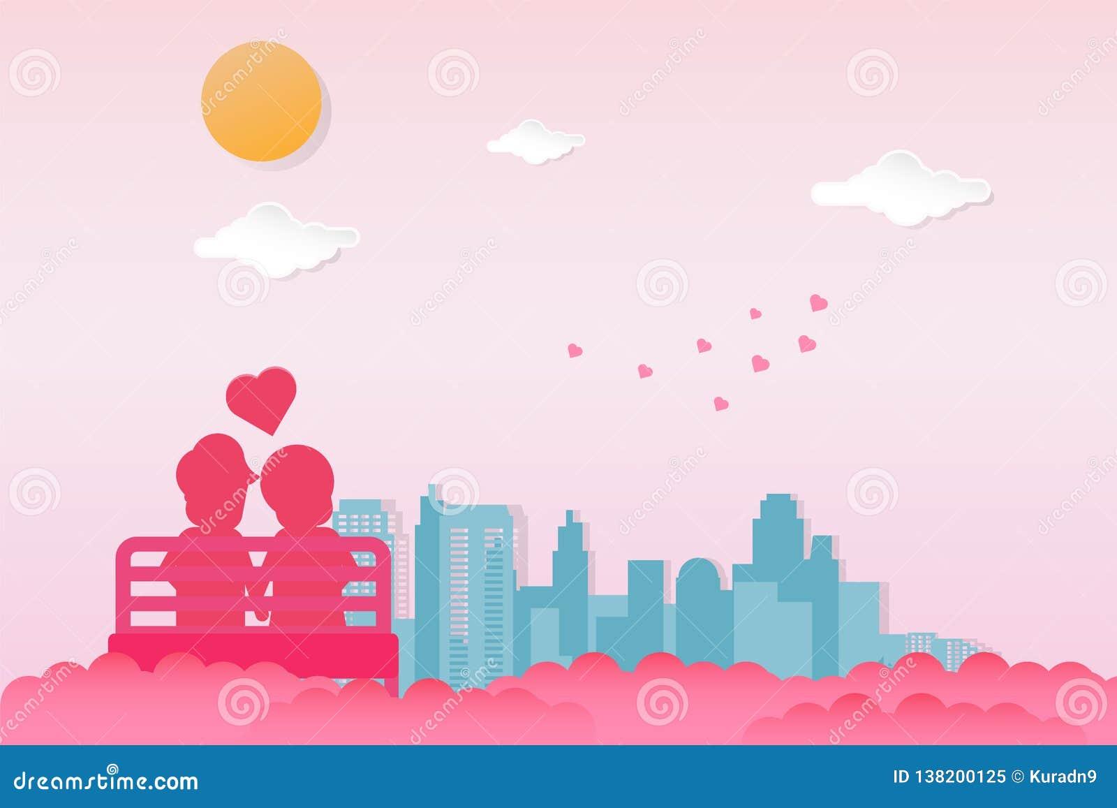 Walentynka dnia tło Pary jest usytuowanym w outdoors przewodniczą widzieć miasto widok przy jasnym niebem z słońcem i chmurami