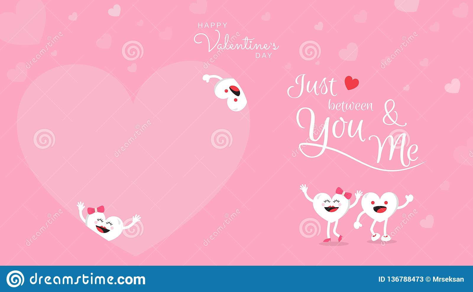 Walentynka dnia tło z śliczną kierową kreskówką i kaligrafią Właśnie między tobą i ja
