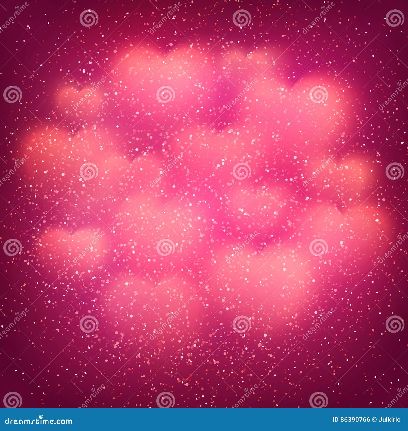 Walentynka dnia tło z chmurą jarzyć się zamazanych bokeh serca i błyskotliwość confetti Różowy dekoracyjny tło