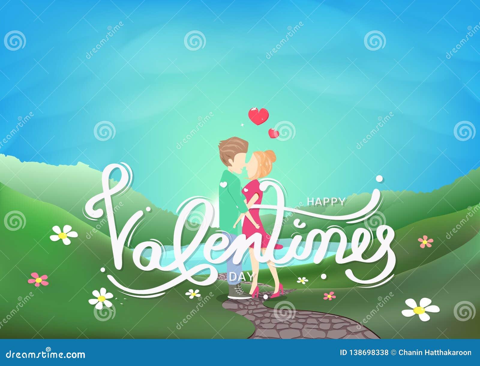 Walentynka dzień, pary całowania charaktery, kaligrafii dekoracji kartka z pozdrowieniami, krajobrazowej świeżej niebo sceny sezo