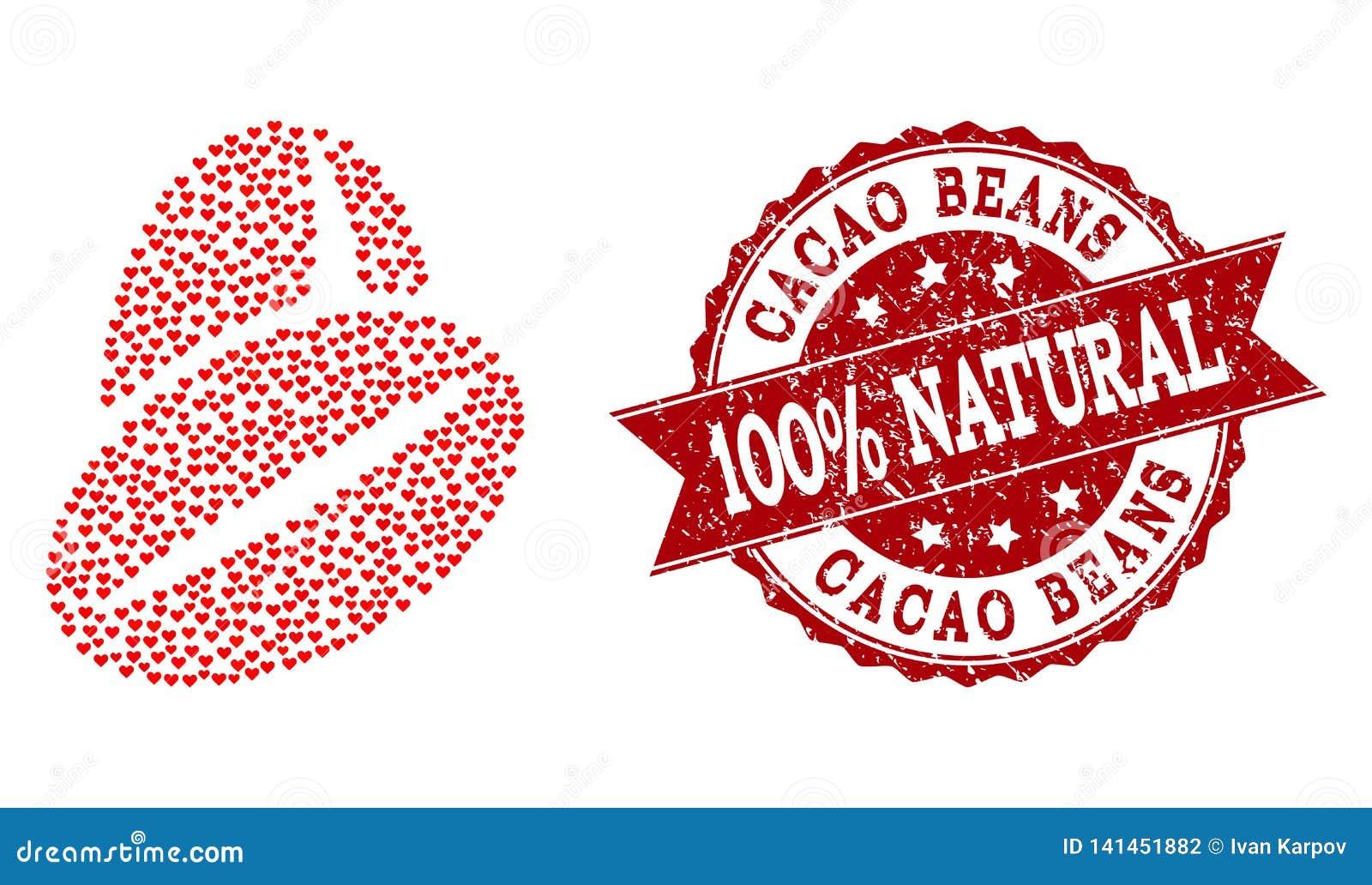 Walentynka Kierowy skład Cacao fasoli ikona i Grunge foka
