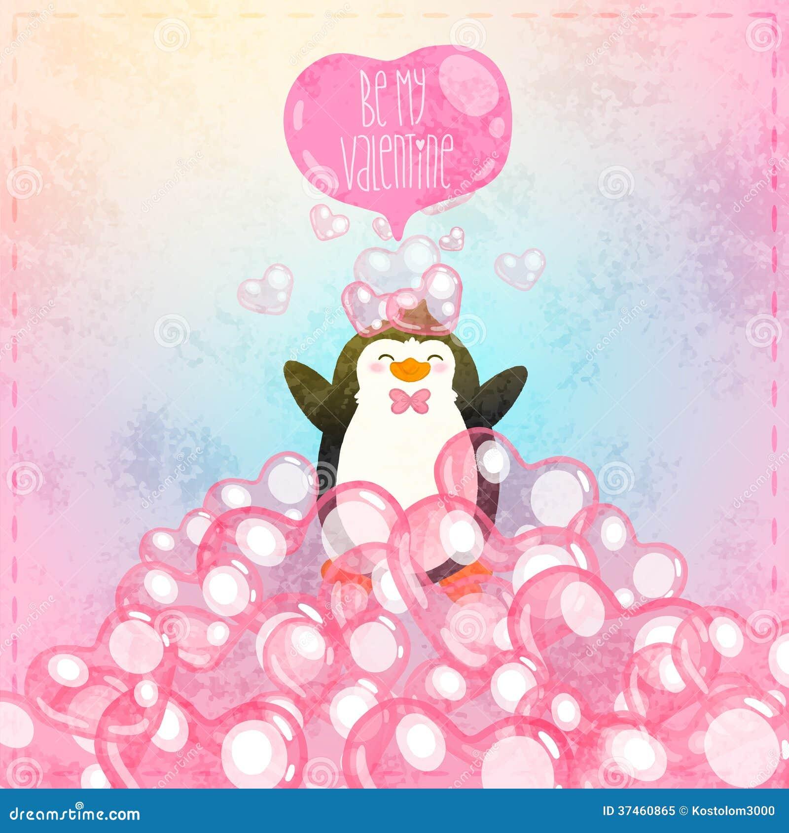 Walentynki gręplują z ślicznym kreskówka pingwinem