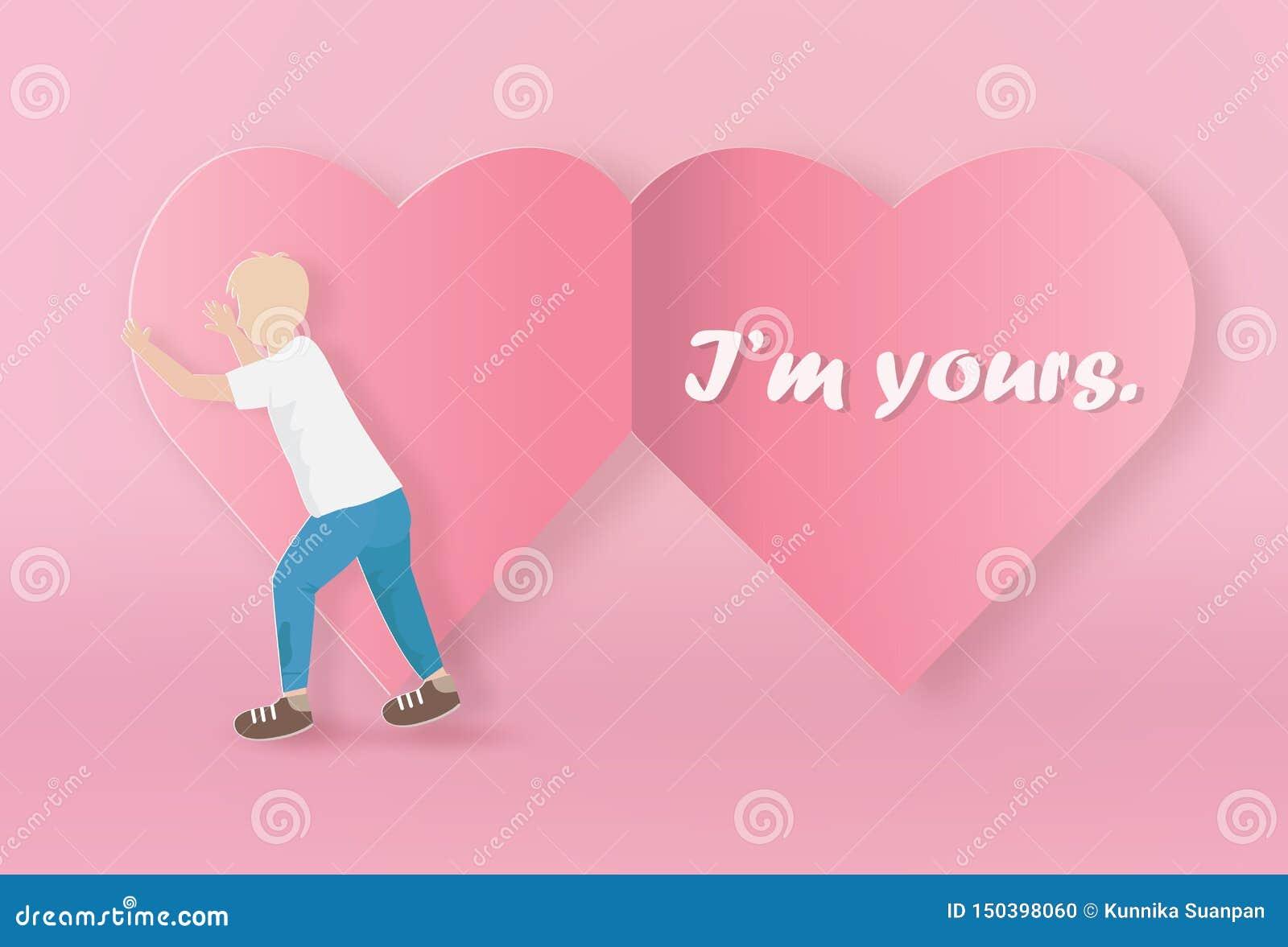 Walentynki kartka z pozdrowieniami z chłopiec otwartym papierowym sercem
