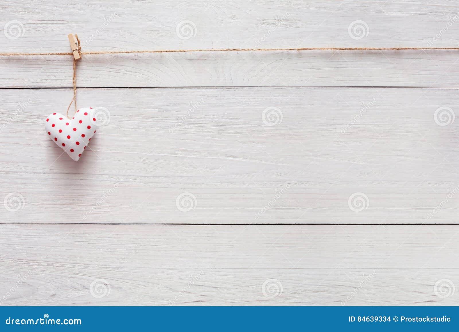 Walentynki Miłości Tło Poduszki Serce Na Drewnie Kopii Przestrzeń