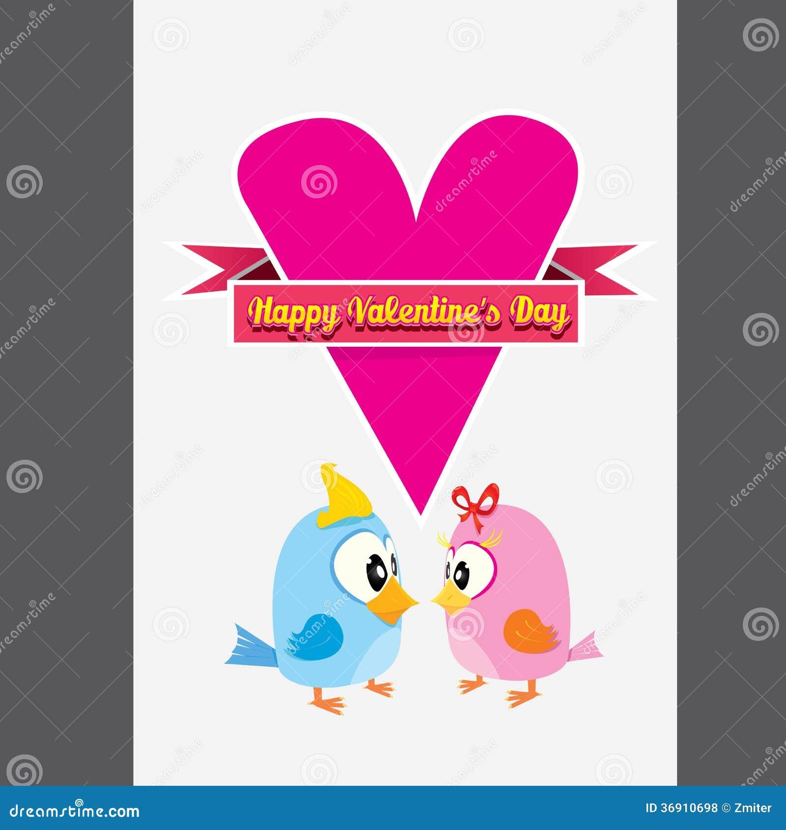 Walentynki piękna karta z para ptakami