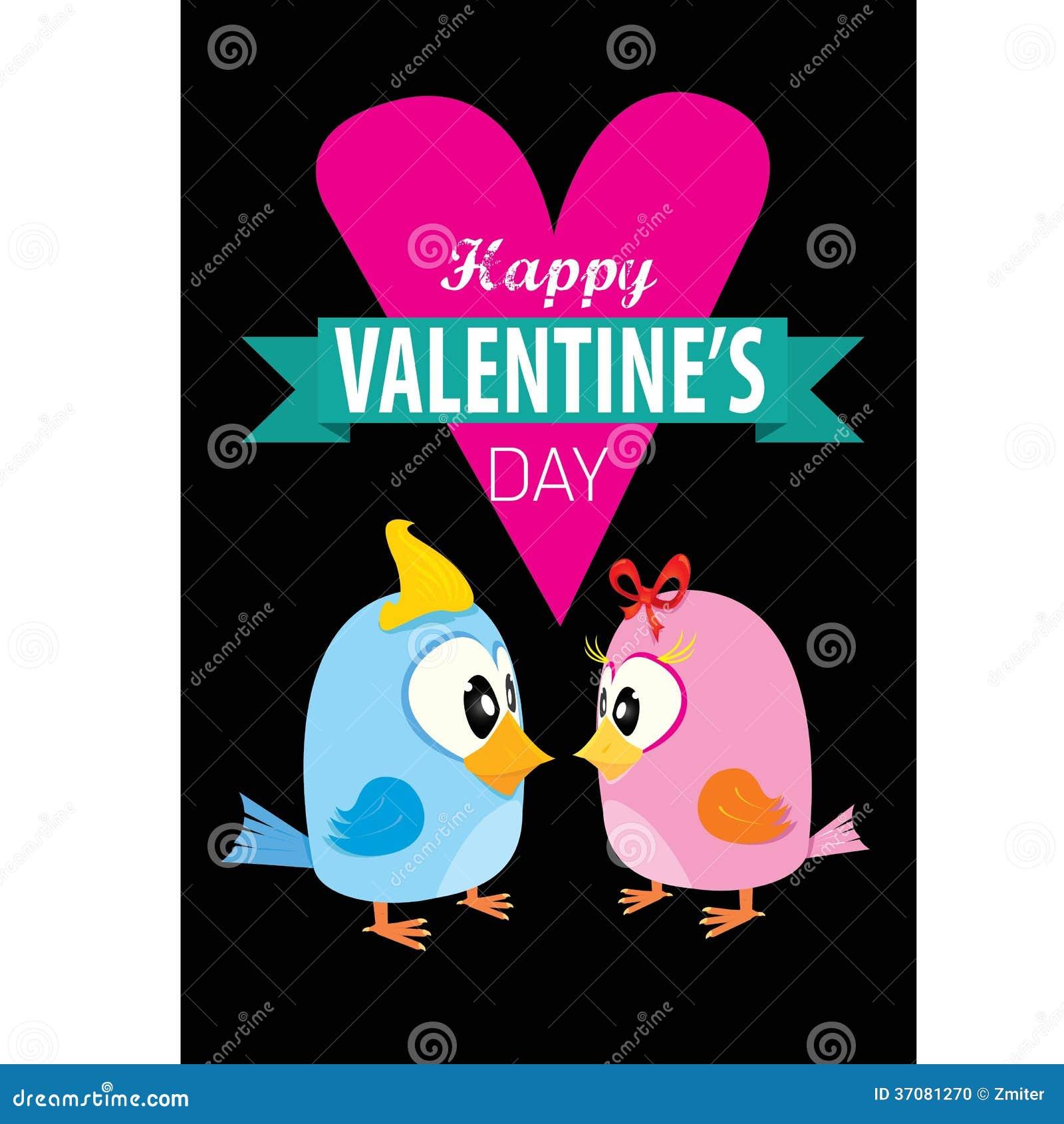 Download Walentynki Piękna Karta Z Para Ptakami Ilustracja Wektor - Ilustracja złożonej z piękny, zwierzę: 37081270