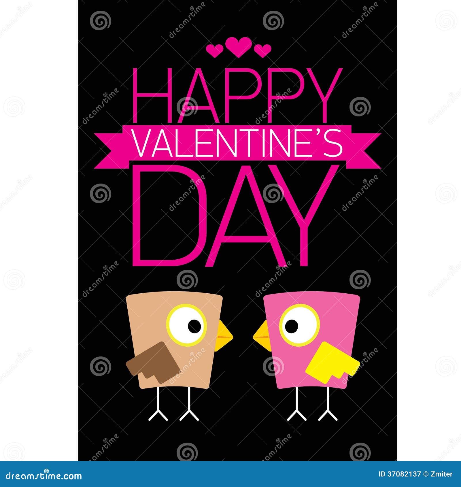 Download Walentynki Piękna Karta Z Para Ptakami Ilustracja Wektor - Ilustracja złożonej z sztandar, motyl: 37082137