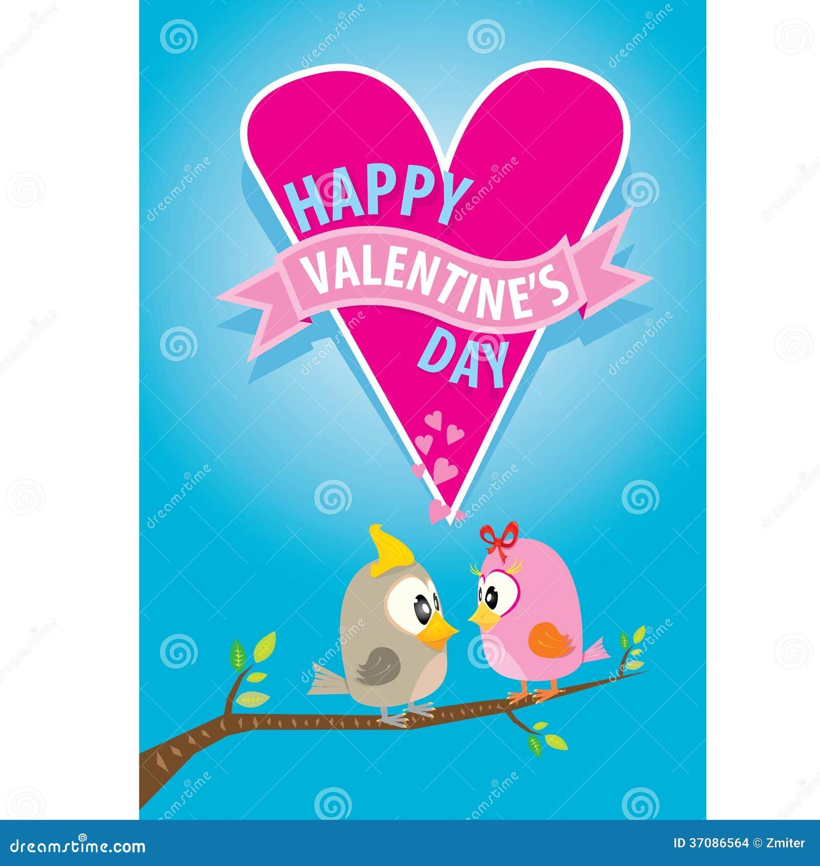 Download Walentynki Piękna Karta Z Para Ptakami Ilustracja Wektor - Ilustracja złożonej z etykietka, krzywy: 37086564