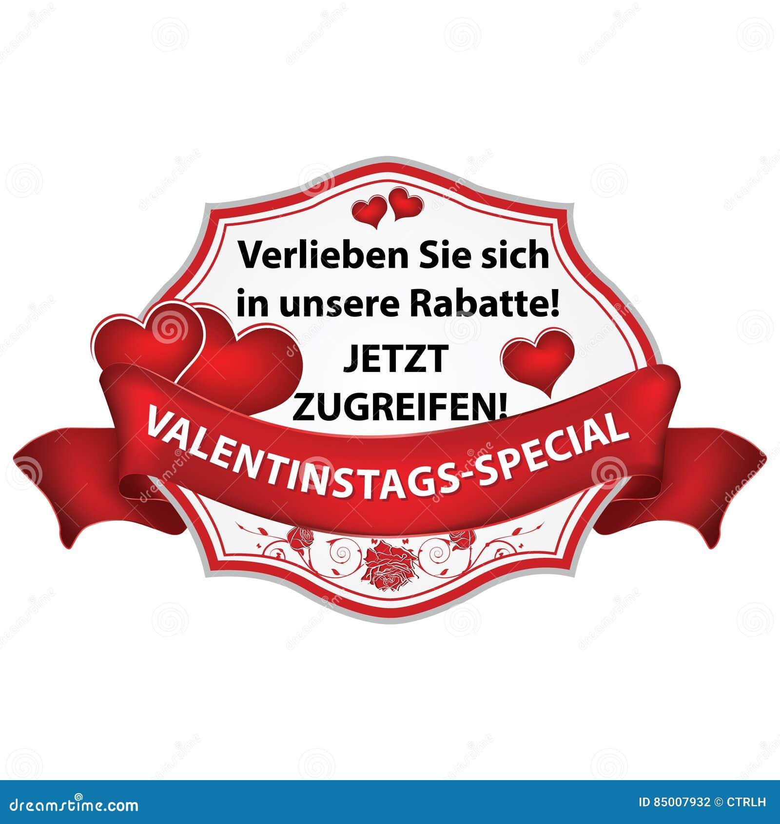 Walentynki S Dnia Niemiecki Majcher Etykietka Ilustracja Wektor