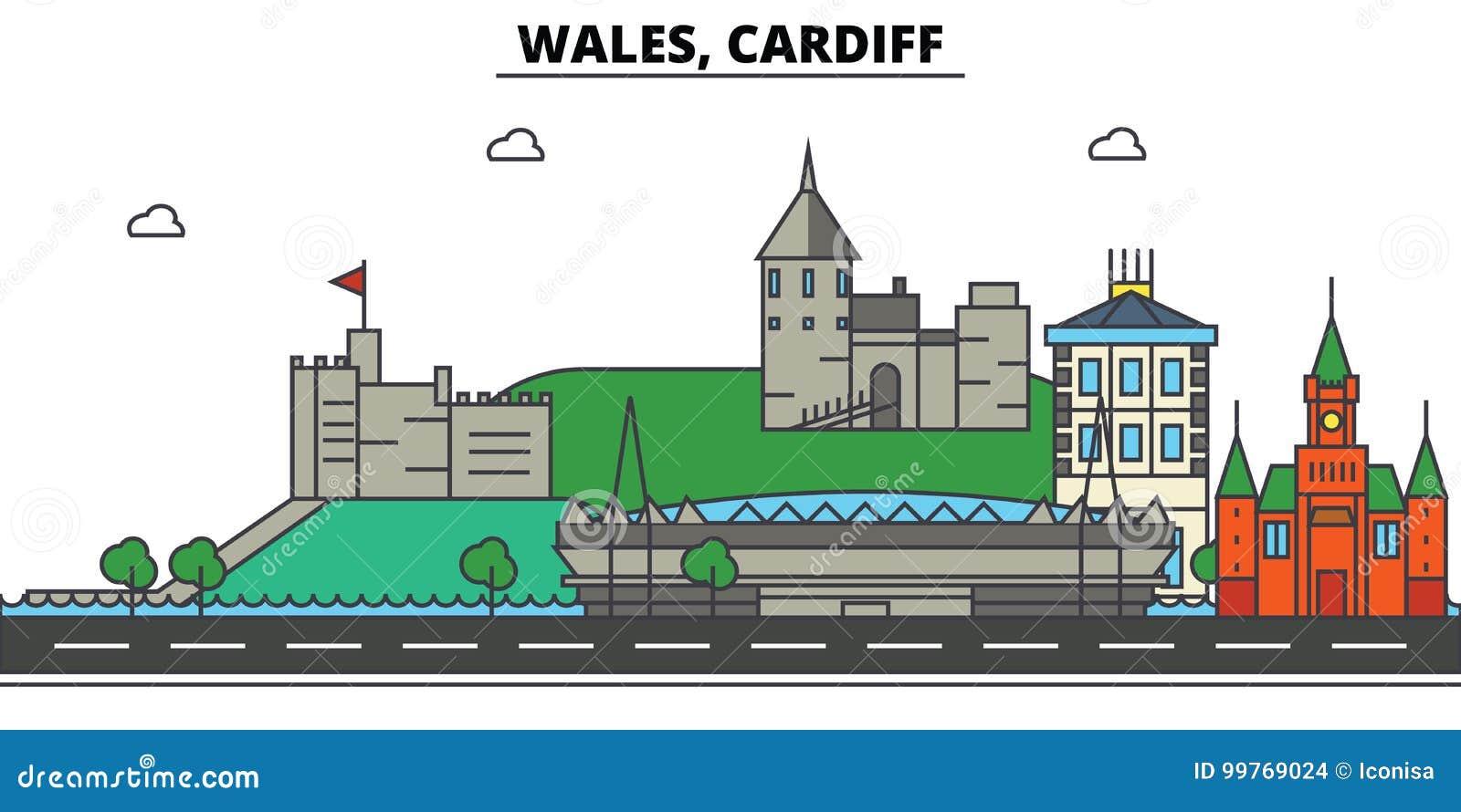 Wales, Cardiff De architectuur van de stadshorizon editable