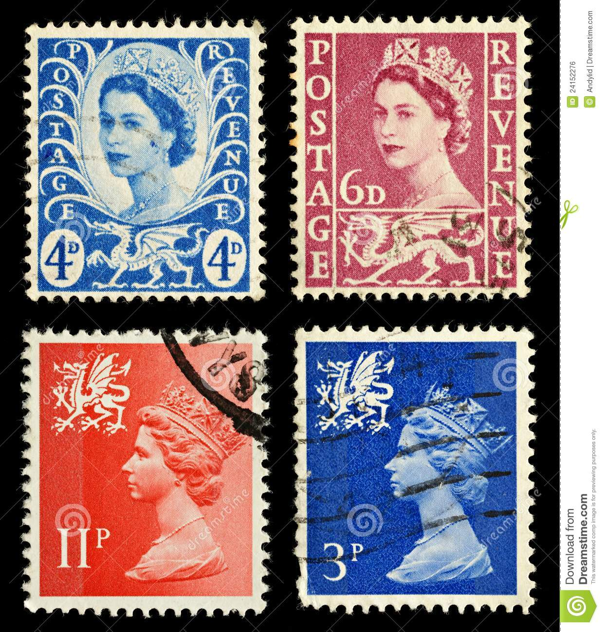 Wales Postage Stamps Royalty Free Stock Image Image
