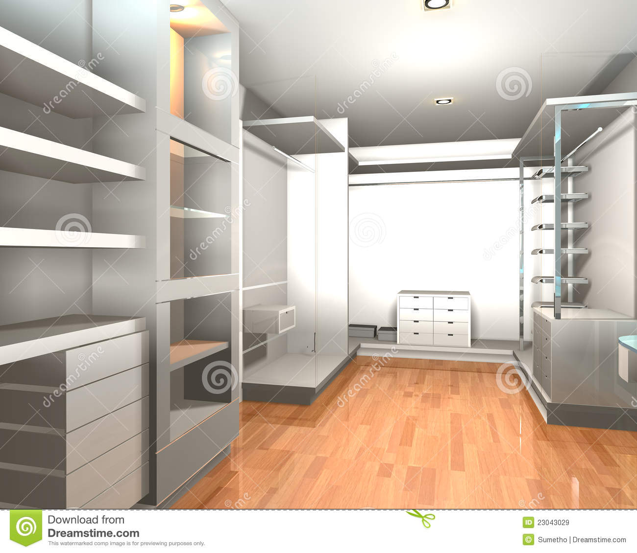 Walk in closet stock illustration. Illustration of clean