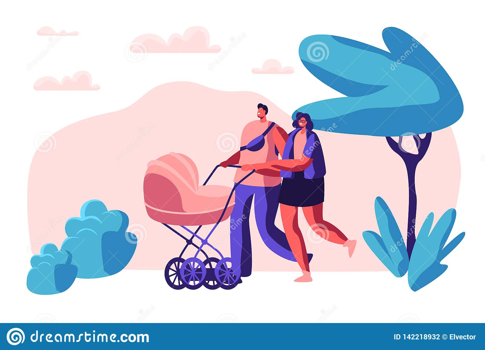 Walk Family with Baby Stroller in Park. Happy Mother and Father Together Walking with Newborn Kid. Parents Spend Leisure Time