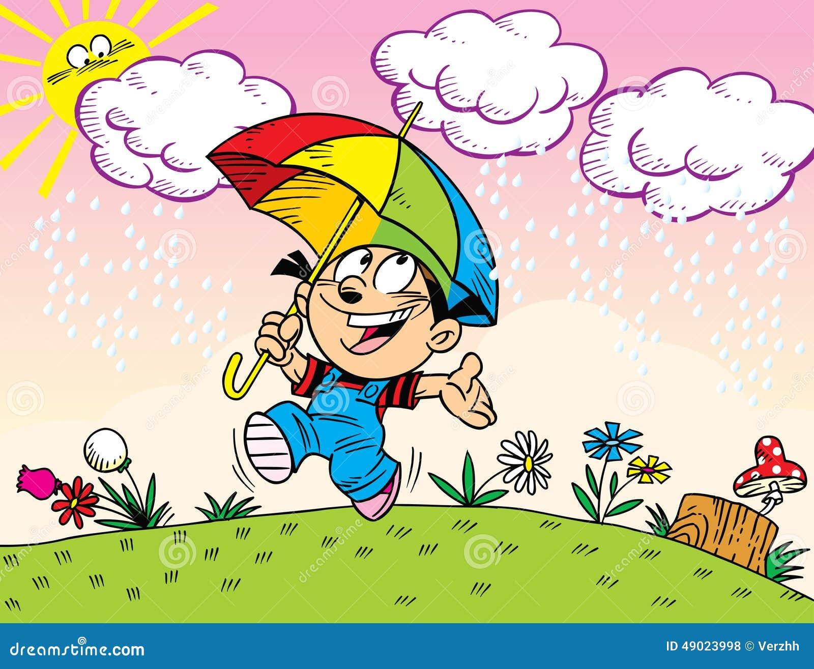 Clip Art Rainy Day Quotes: Walk Under The Umbrella Stock Vector. Illustration Of