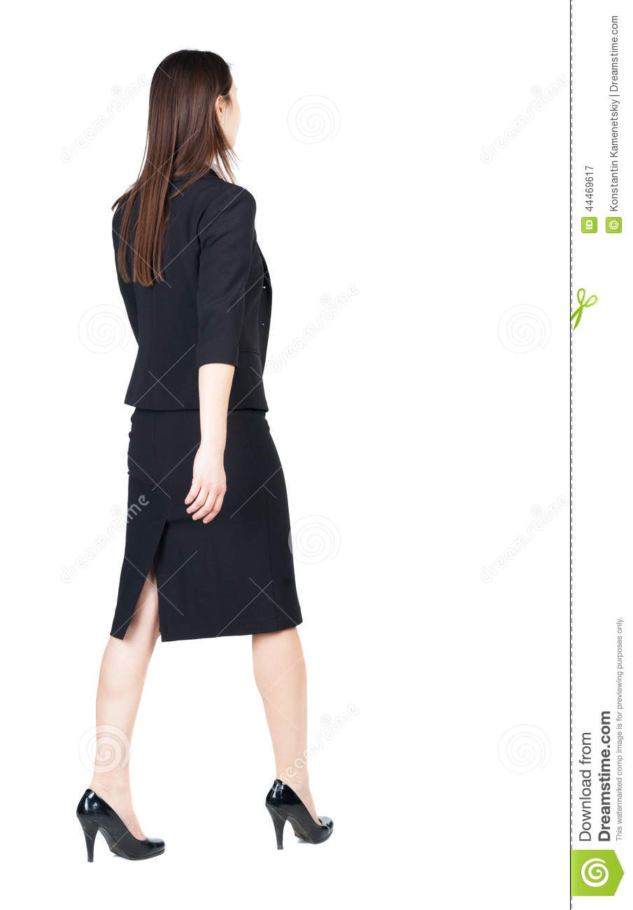 Walking Business Woman Back View Stock Image Image