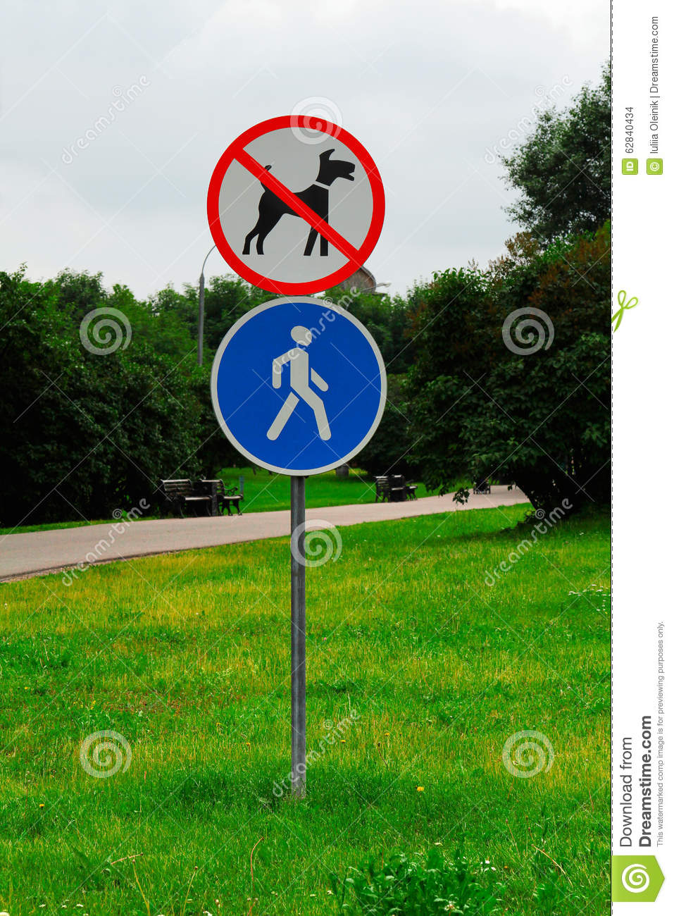 Walking of dogs prohibited and pedestrian zone