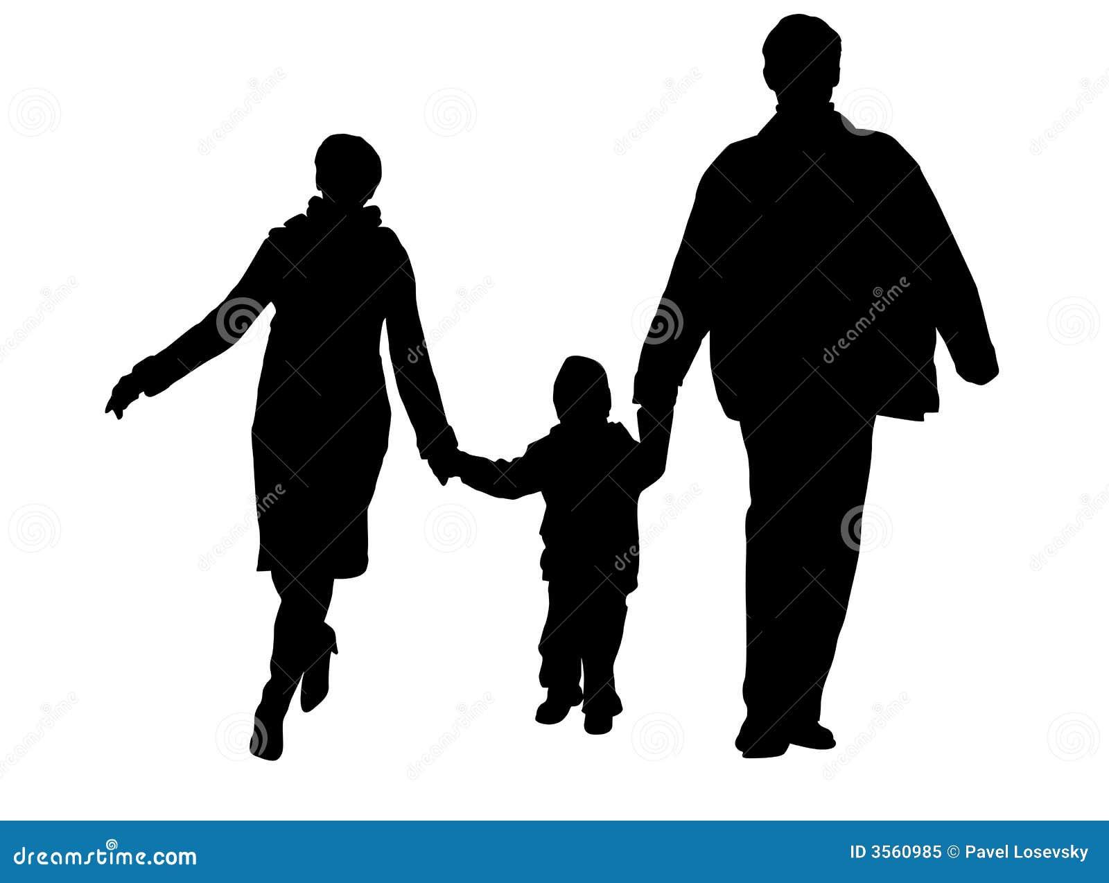 Royalty Free Stock Photo  Walking family silhouetteFamily Walking Silhouette