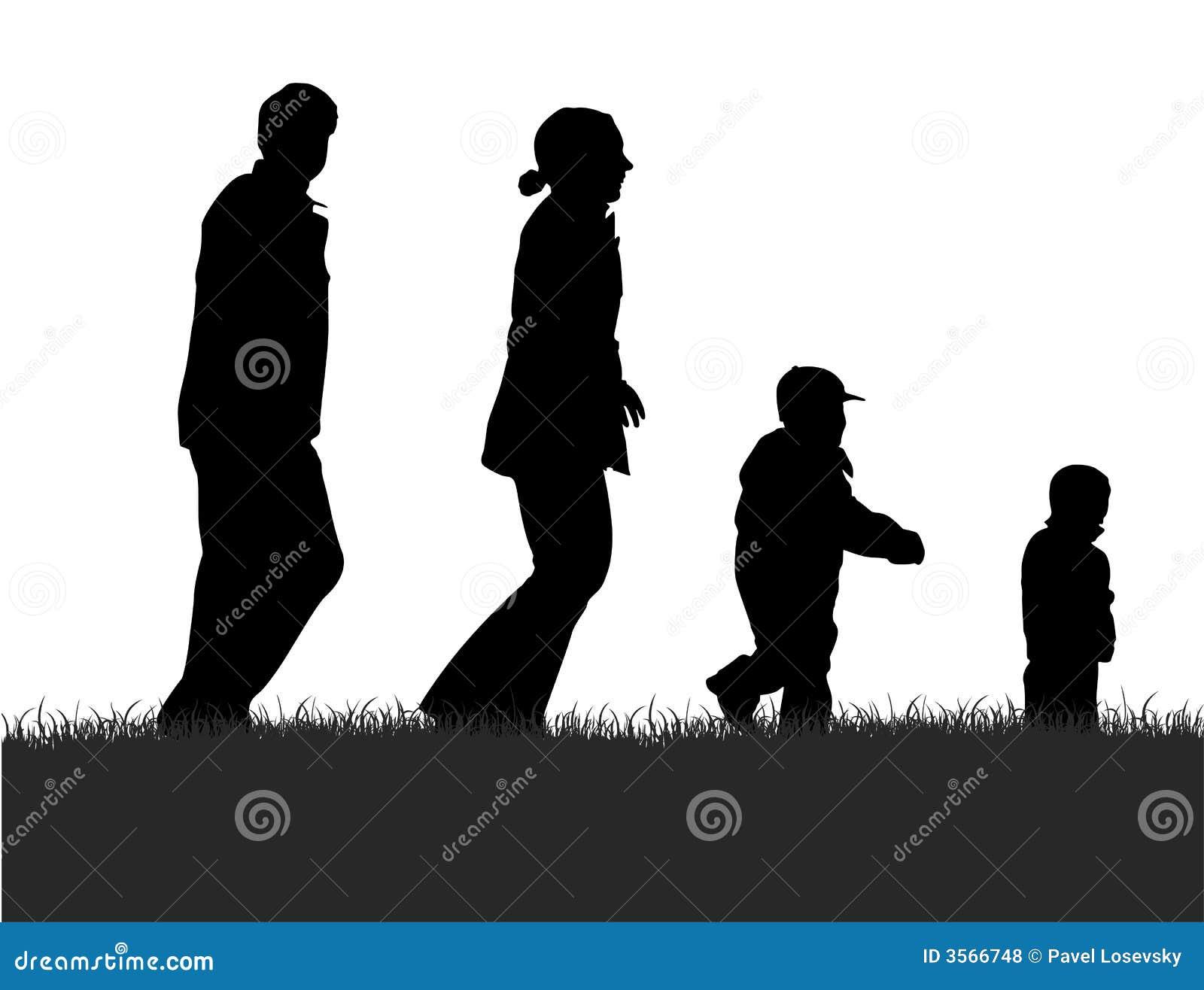 Royalty Free Stock Photos  Walking family silhouetteFamily Walking Silhouette