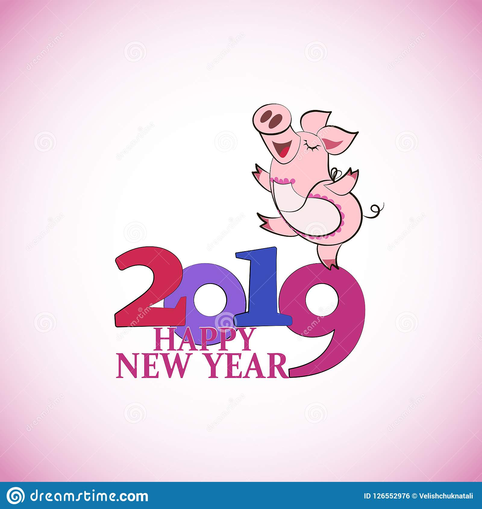 Walking Funny Pig. Chinese Symbol Of The 2019 Year. Happy New Year ...