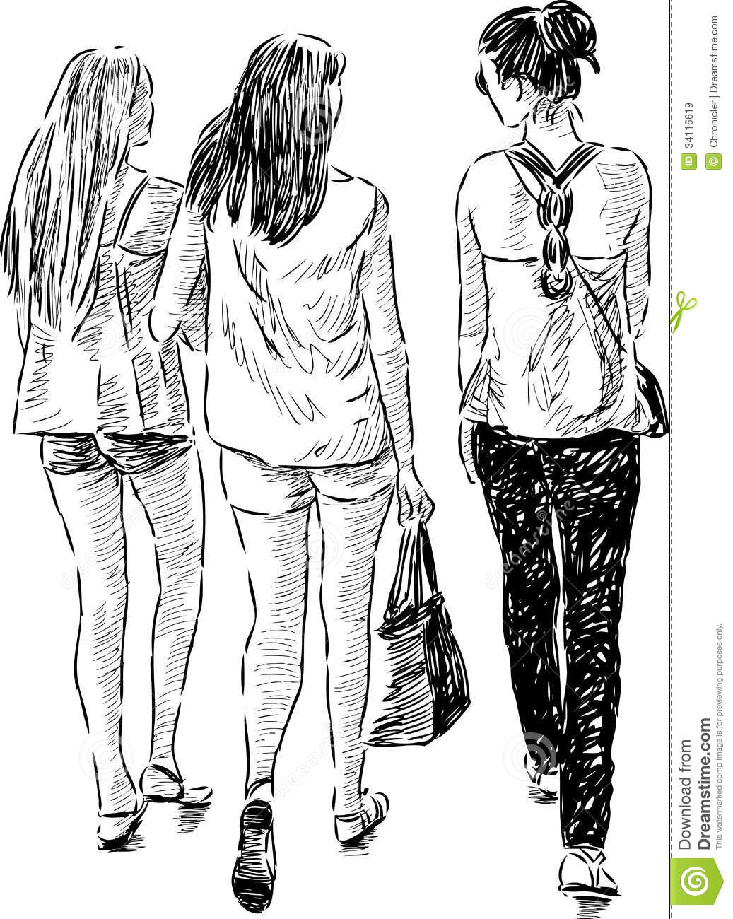 Walking Girls Stock Vector Illustration Of Adult View