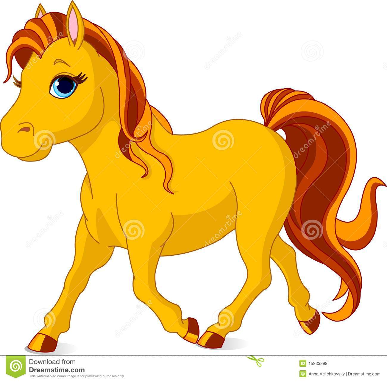 Walking horse stock vector illustration of mare yellow for Clipart mare