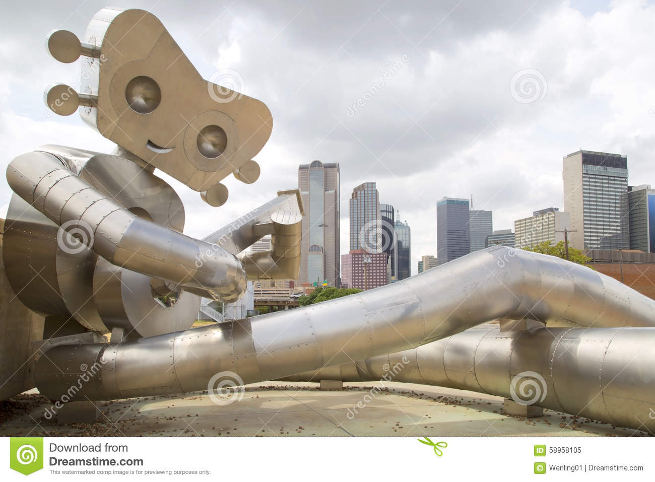 The Walking Man and   Dallas skyline