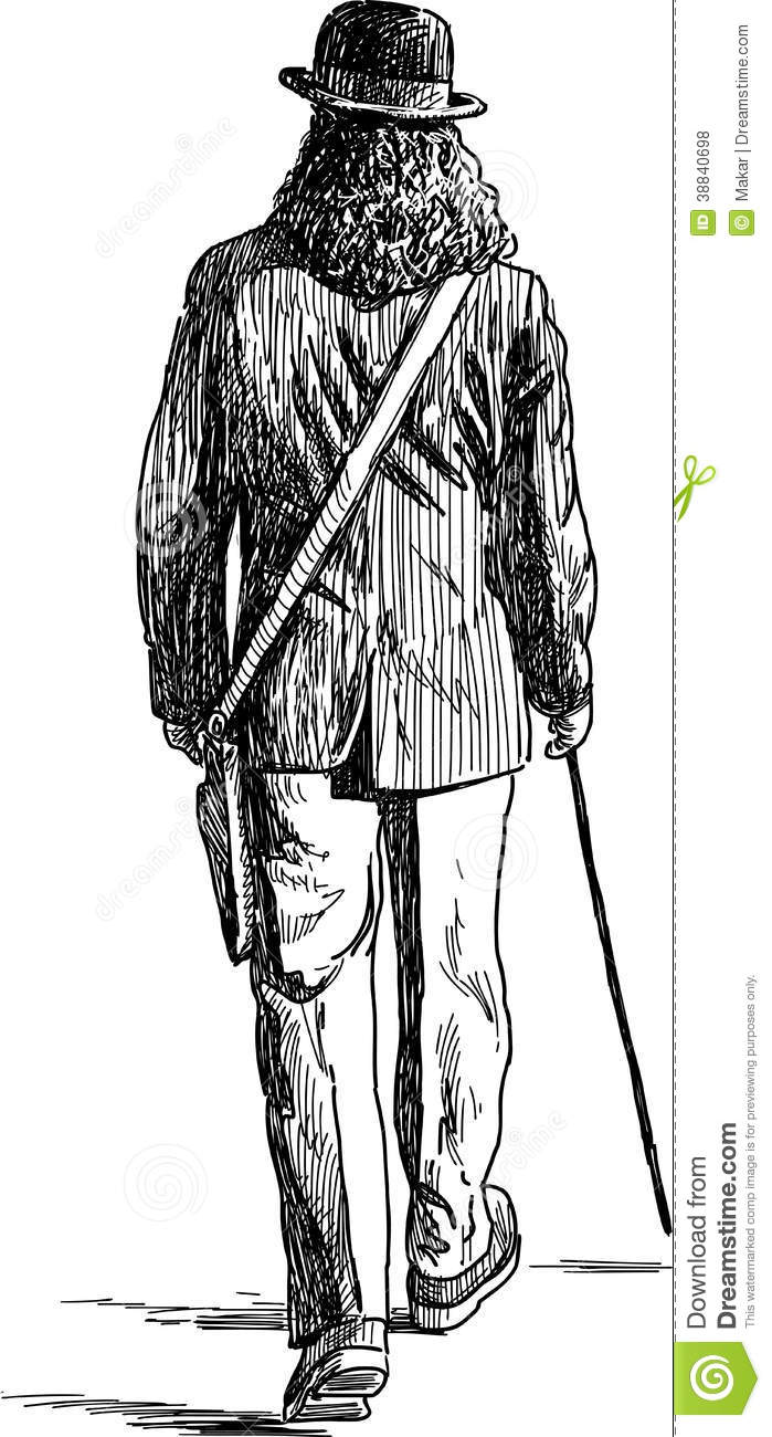 how to draw a person walking from behind