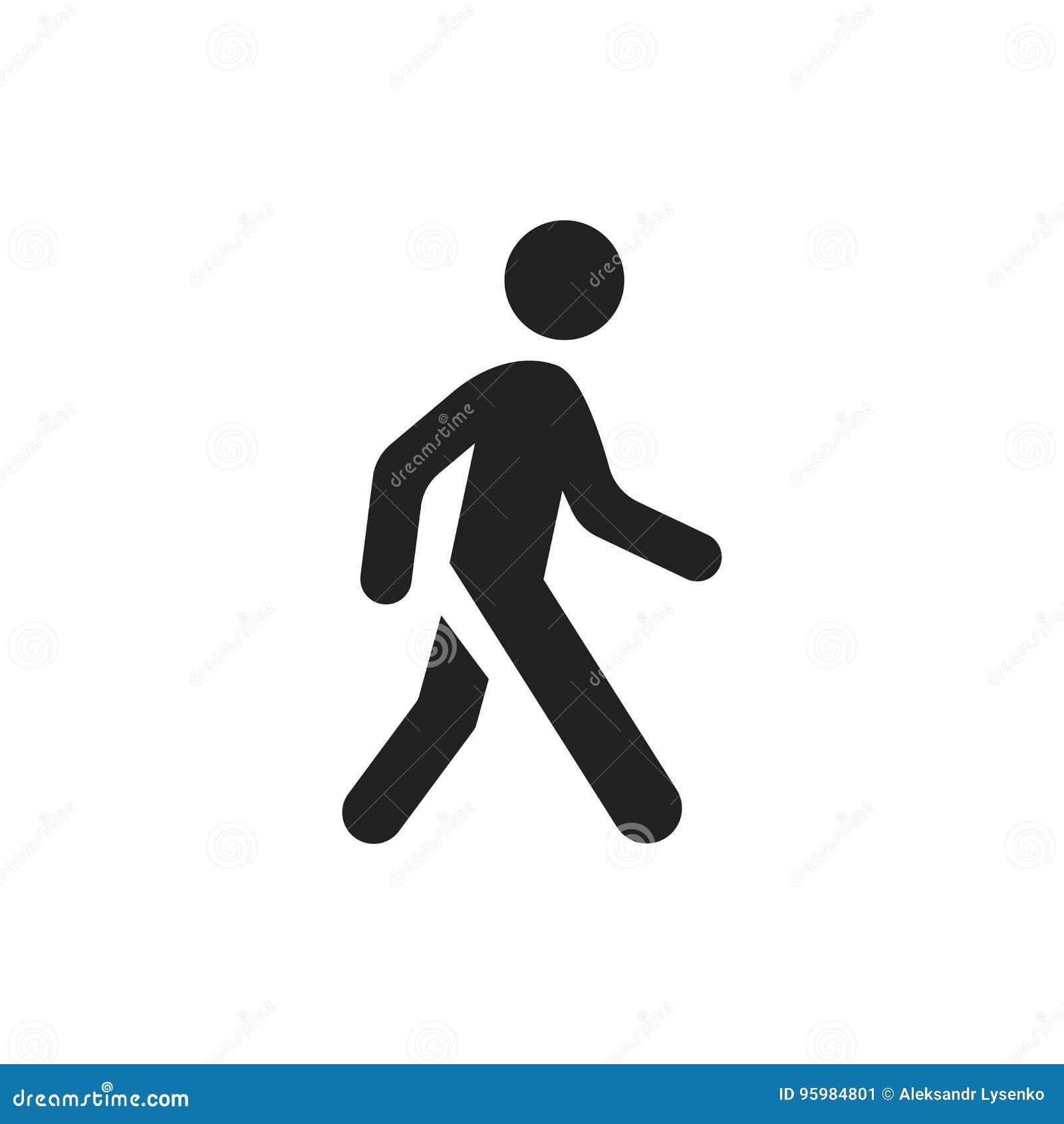 Walking man vector icon. People walk sign illustration