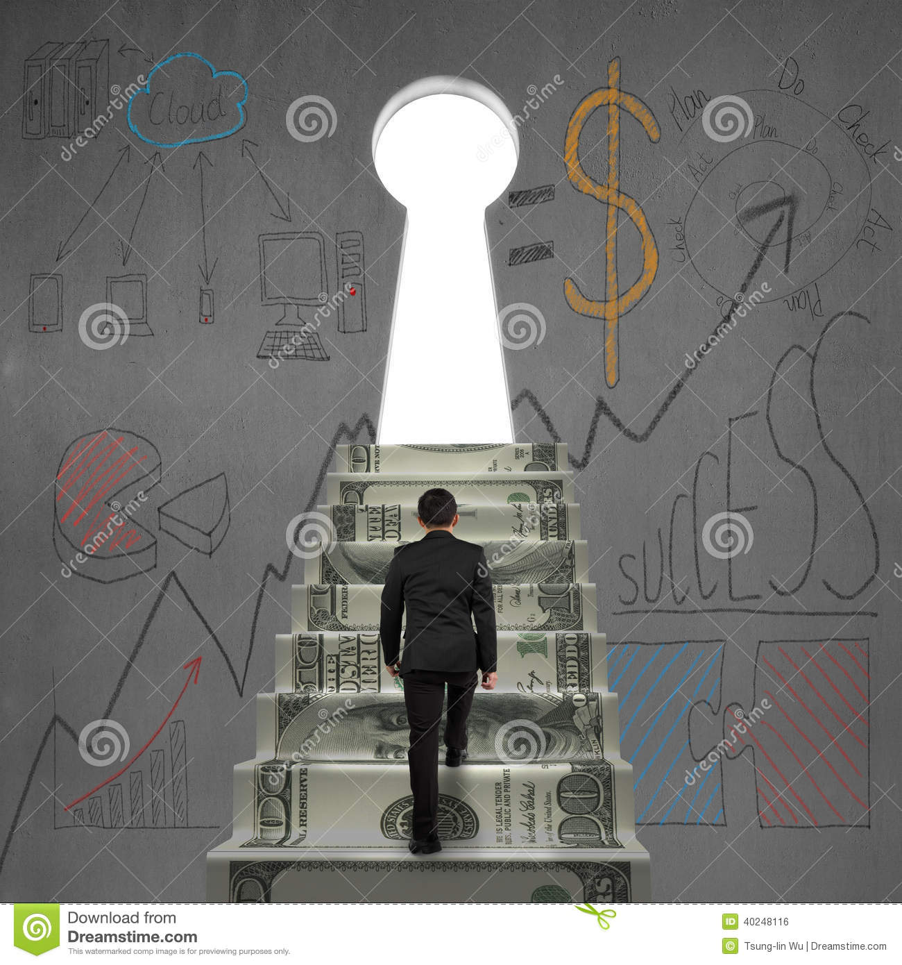Walking on money stairs to key door with business dooles & Walking On Money Stairs To Key Door With Business Dooles ...