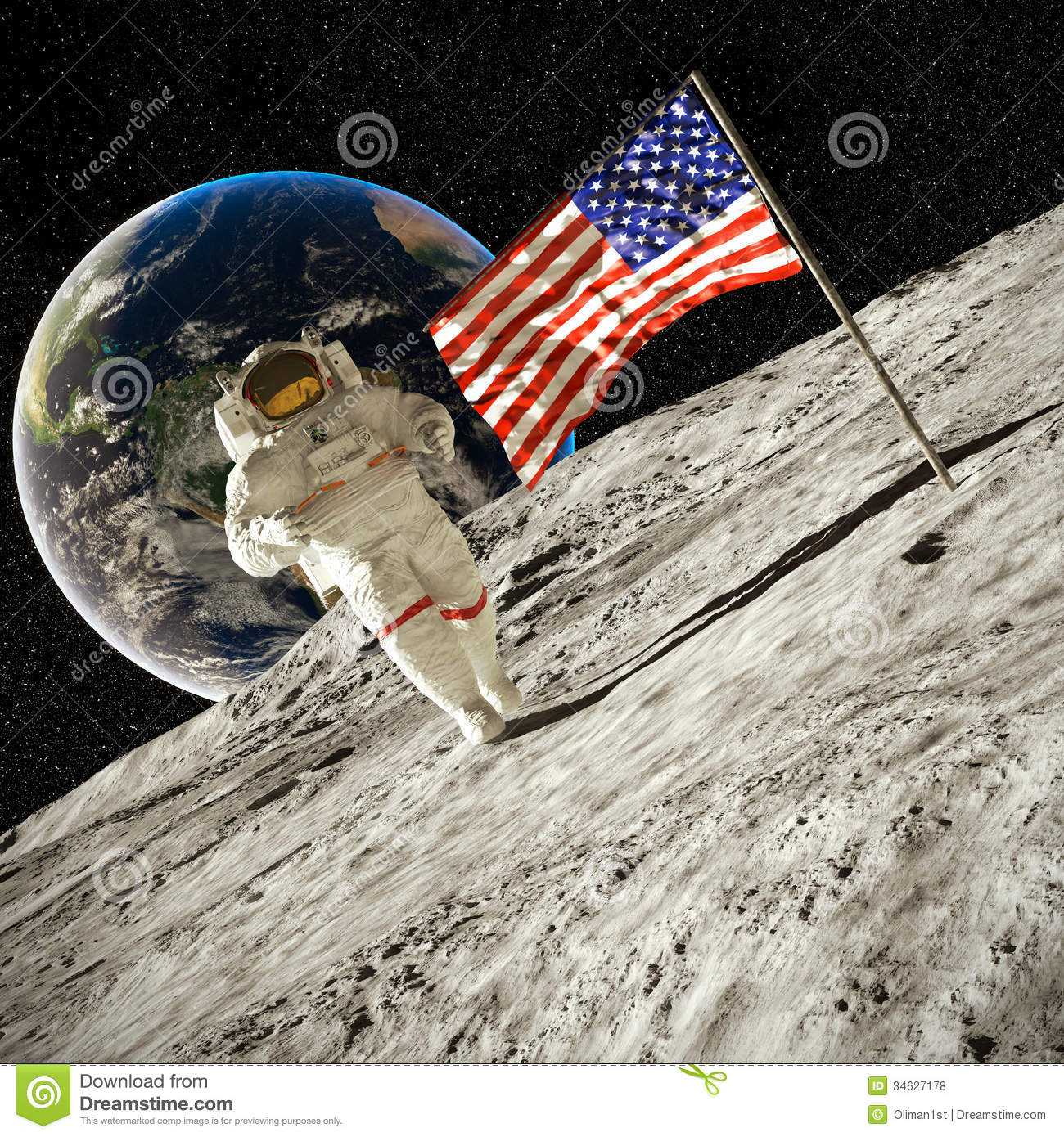 Walking On The Moon 3d Illustration Royalty Free Stock ...