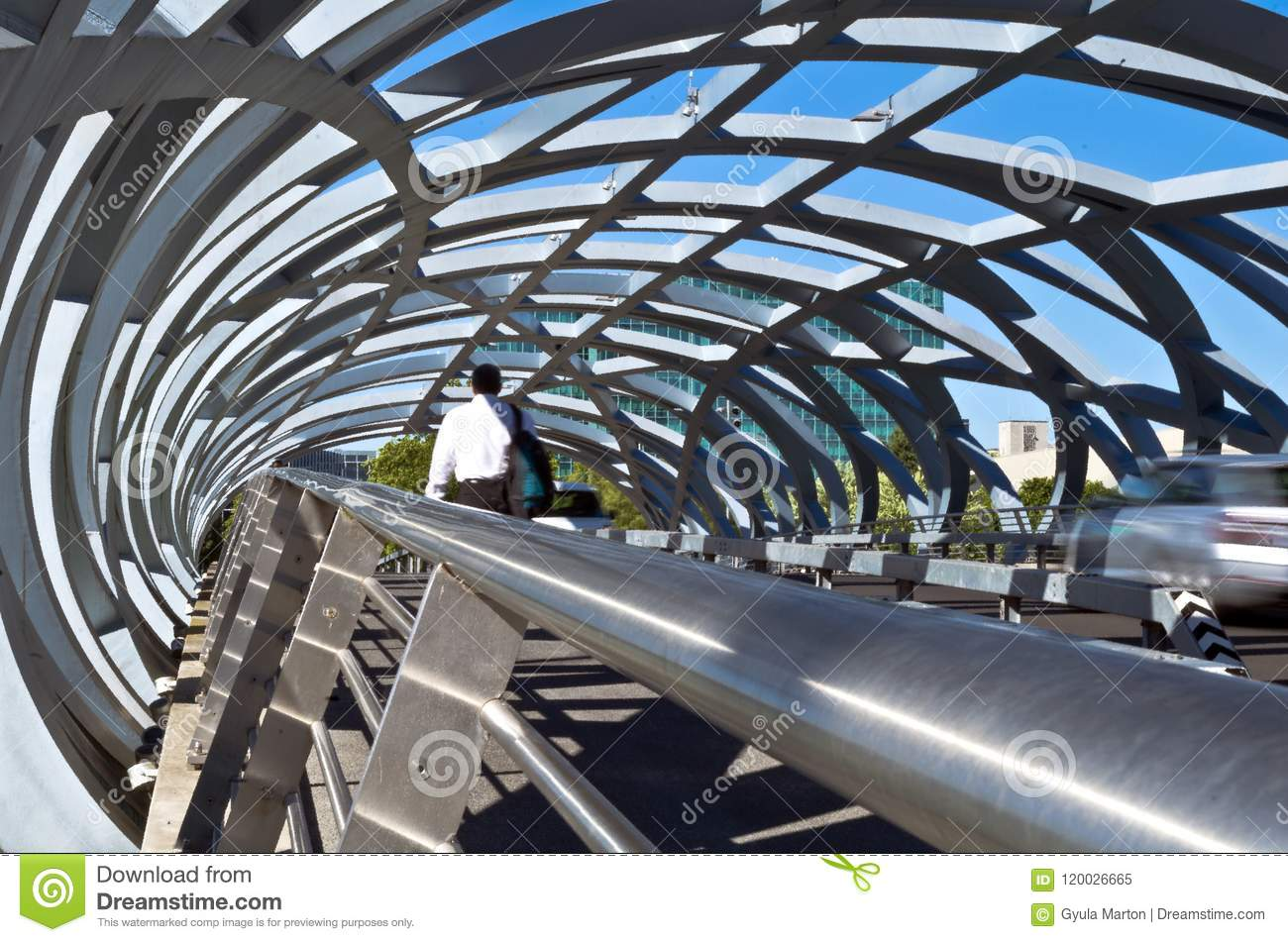 Pedestrian and car passed over to the other side of the open canopy Rolex bridge in Geneva. large open decorative steel cover link overpass connection ... & Walking open canopy bridge editorial image. Image of bridge - 120026665