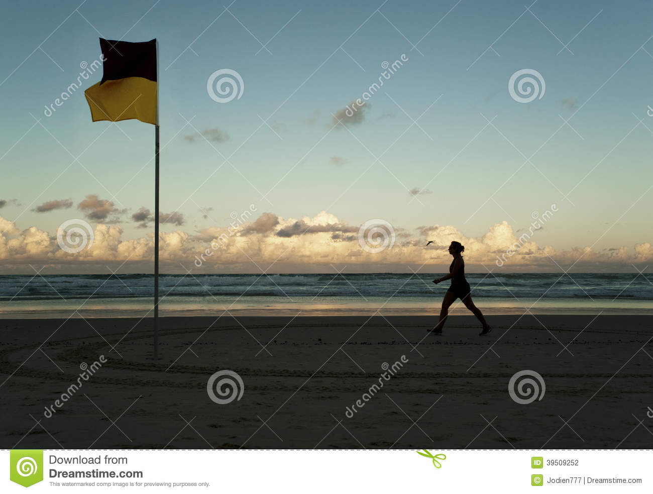 Walking past the swimming flag