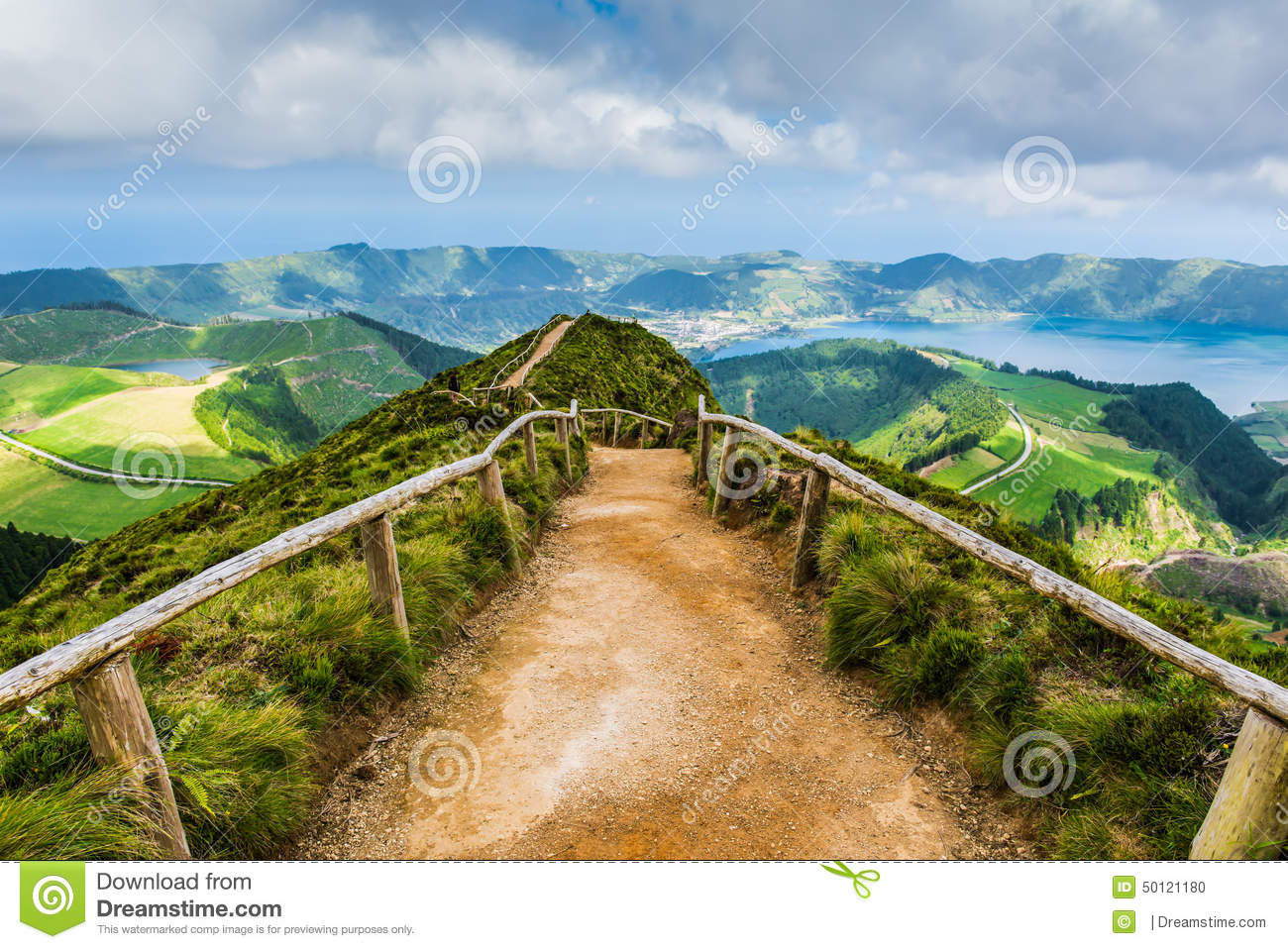 Walking path leading to a view on the lakes of Sete Cidades, Azores