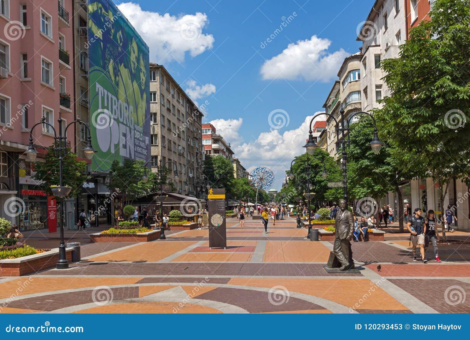 Walking people on Boulevard Vitosha in city of Sofia, Bulgaria