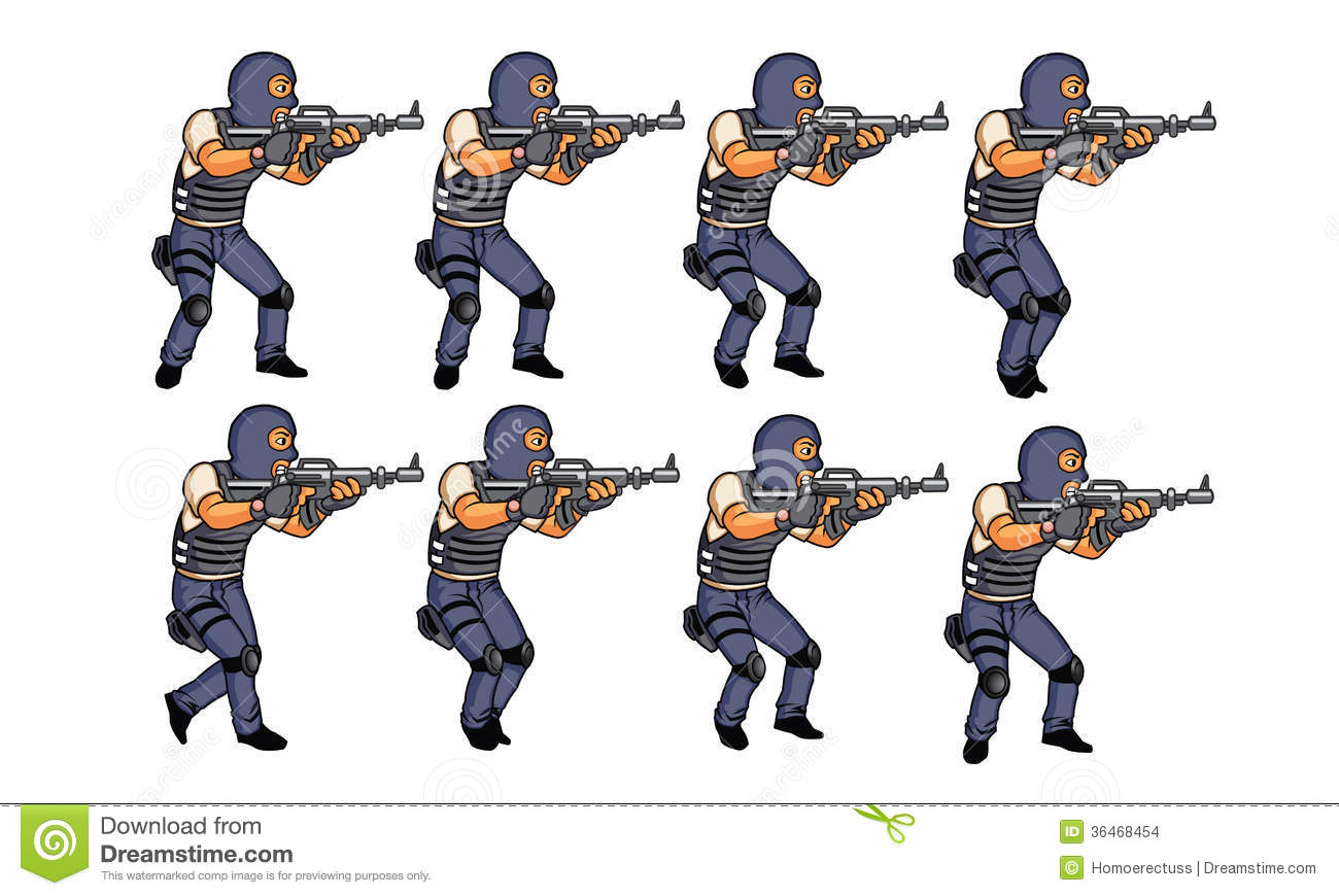 Set of illustration of walking police officer for animation or game.