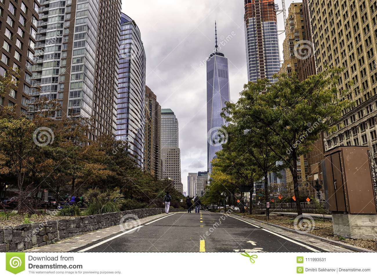 Walking Road In Manhattan Downtown New York Editorial Photo Image