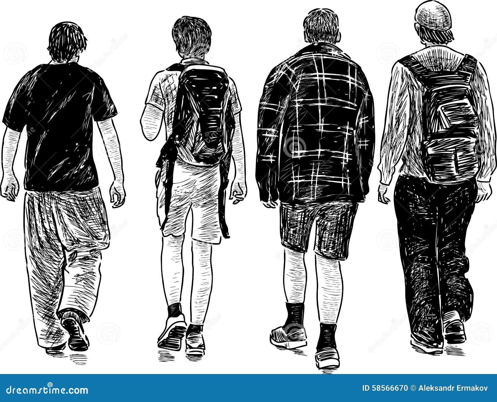 Walking Teens Stock Vector Image 58566670