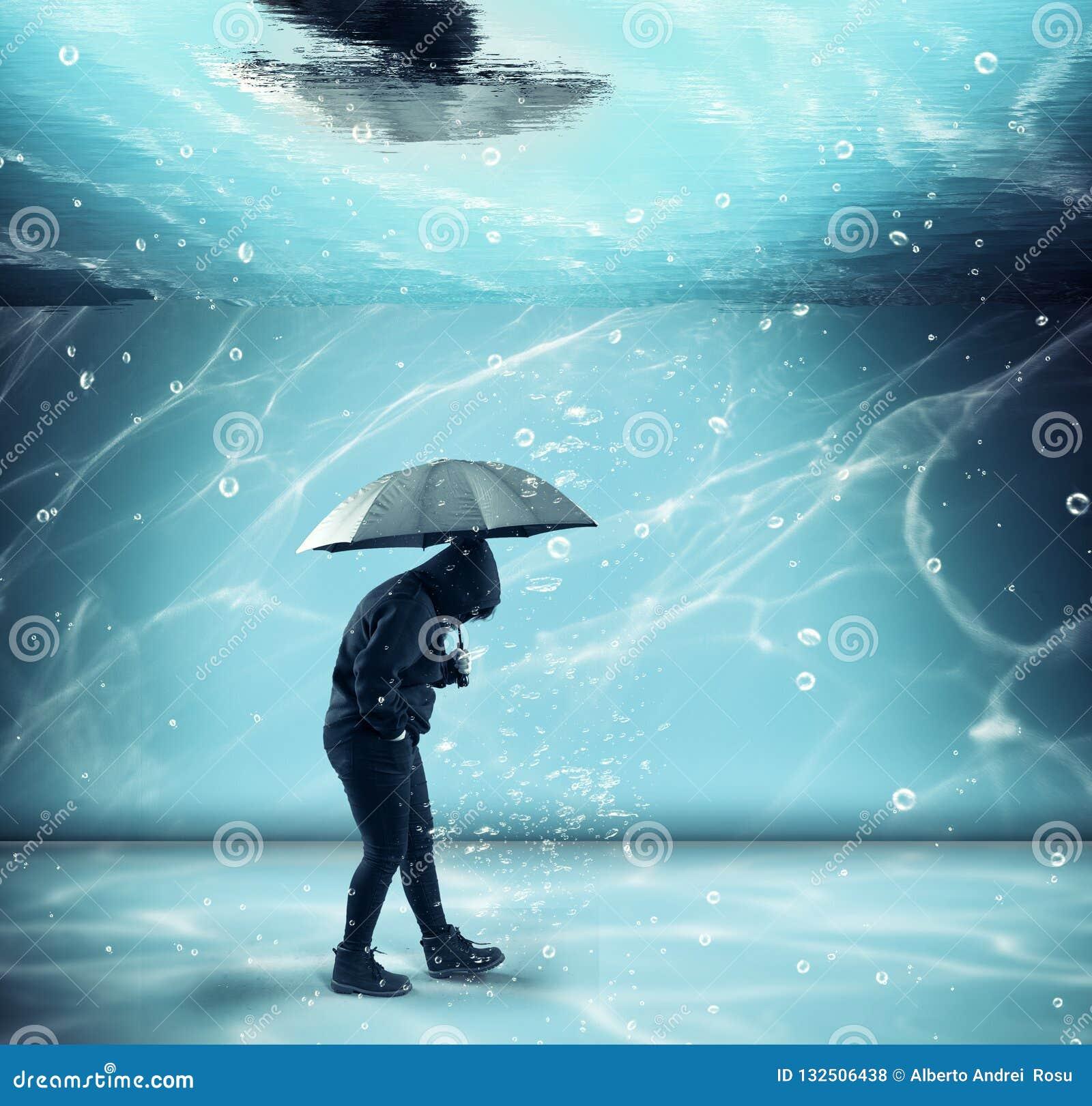 Walking underwater. conceptual image