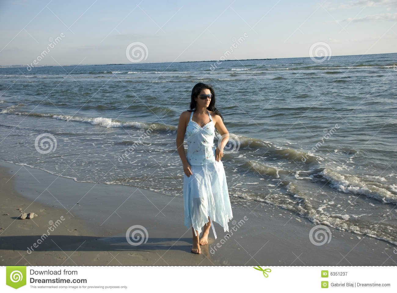 Woman walking on a beach royalty - Beach Beautiful Brunette Comfortable Model Posing Summer Walking Woman