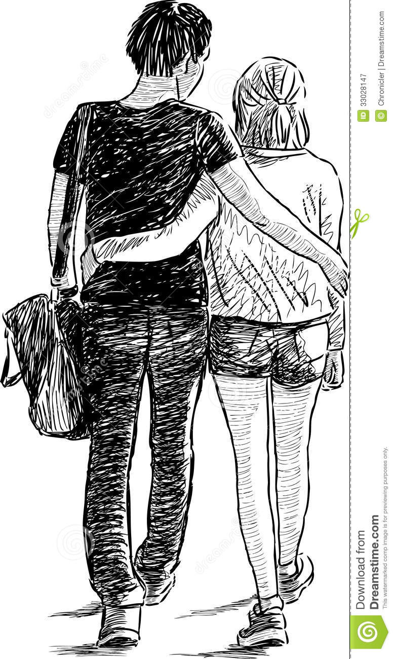 Walking Young Couple Royalty Free Stock Photography