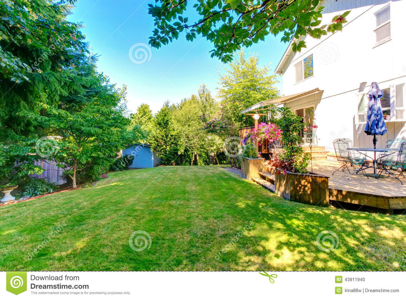 Download Walkout Deck With Patio Table And Umbrella Stock Photo   Image Of  Property, Lawn