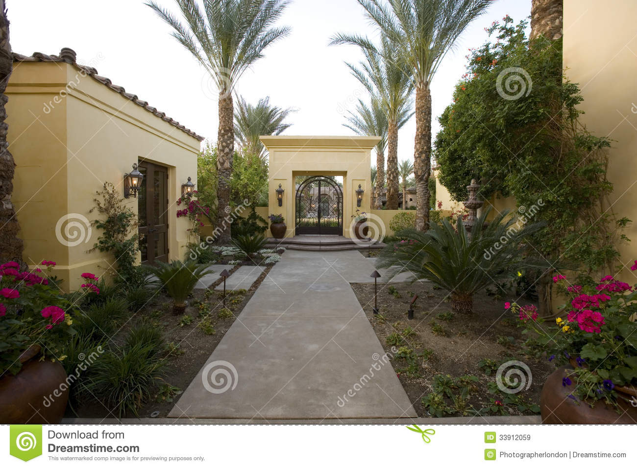 Walkway Along Plants In House Garden & Walkway Along Plants In House Garden Stock Image - Image of pathway ...