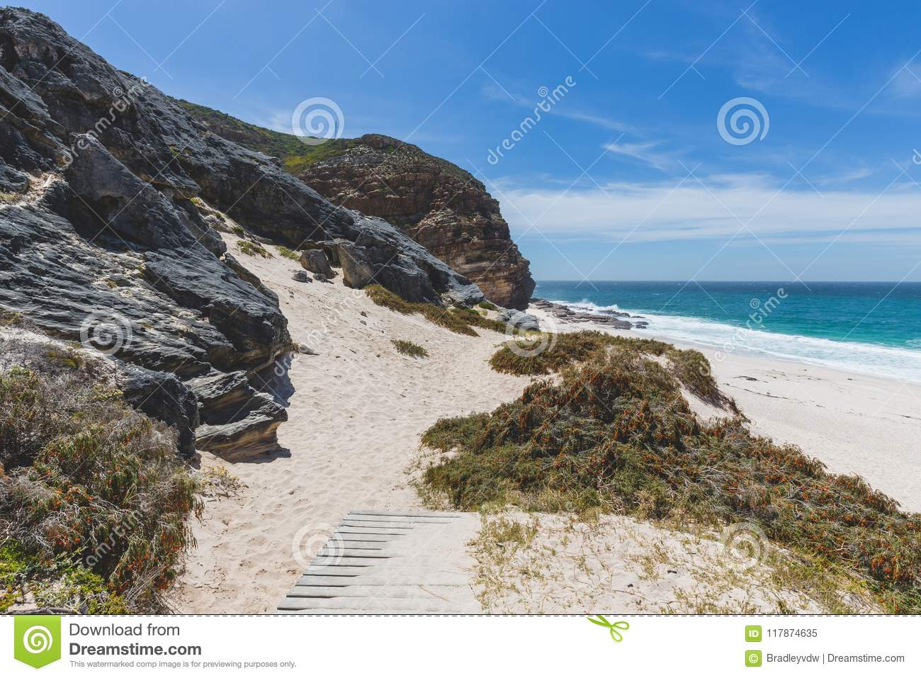 Walkway Down To Diaz Beach At Cape Point Stock Image Image Of Drop Natural 117874635
