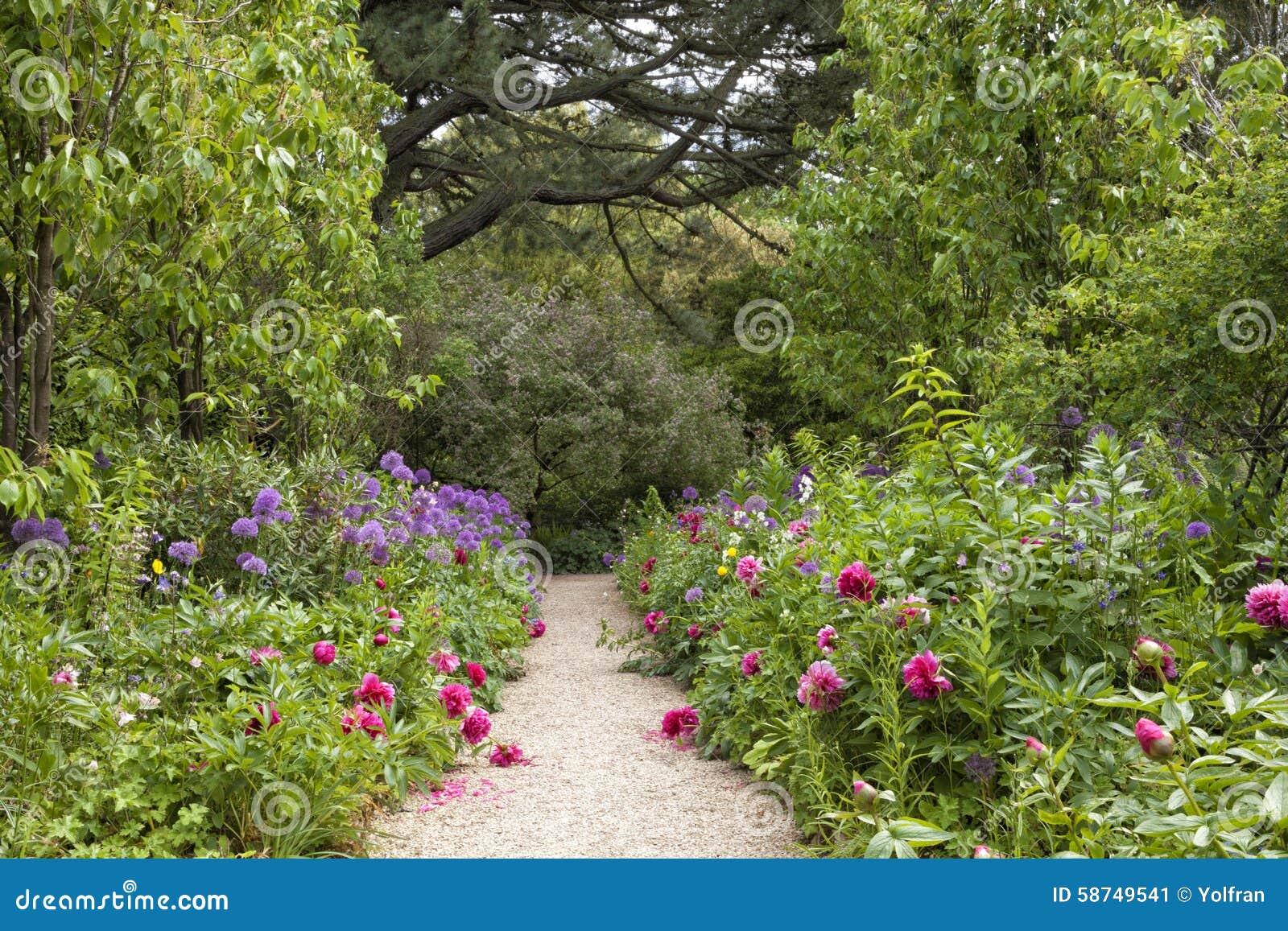 Walkway In English Summer Flowering Garden