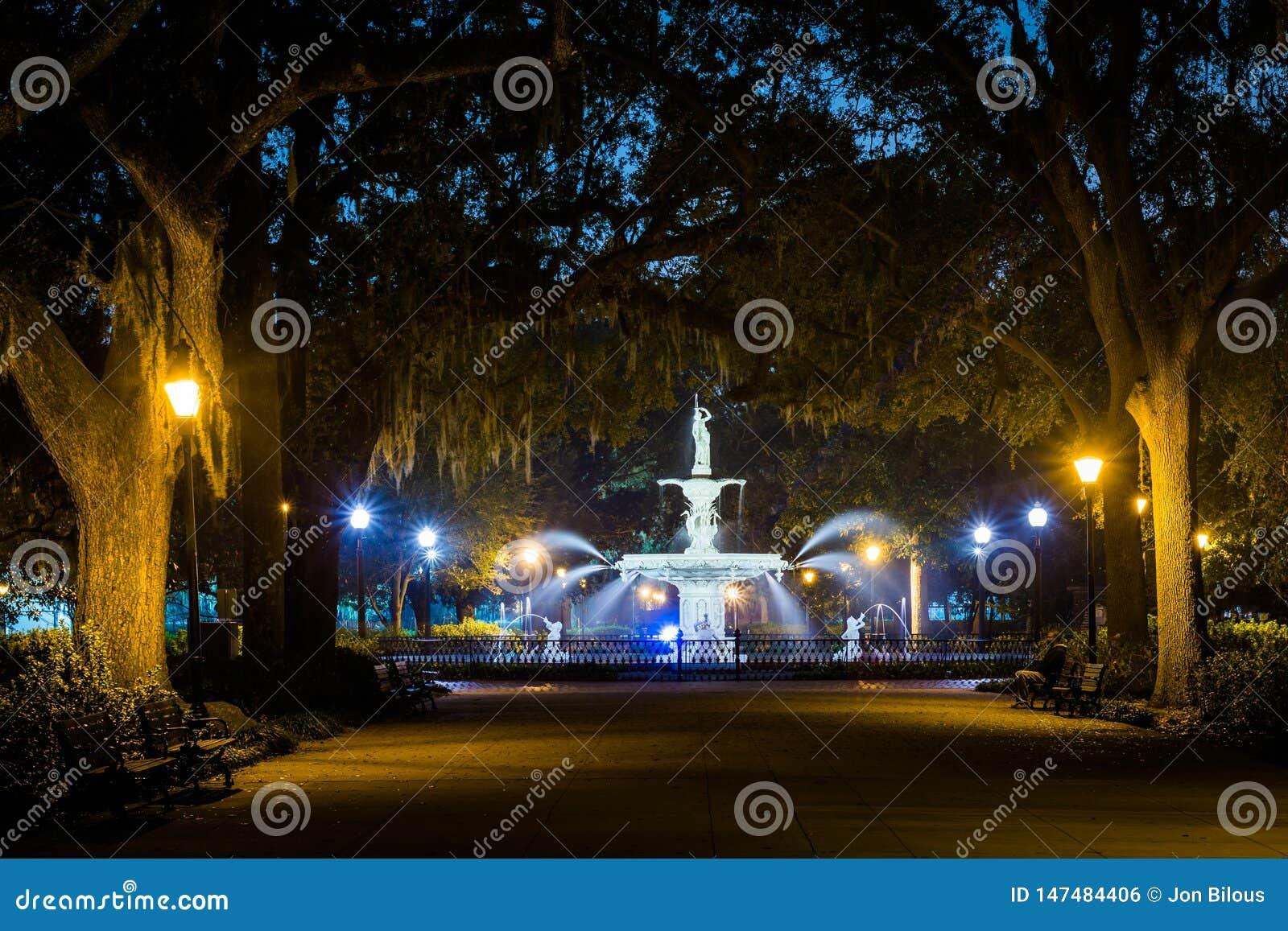 Walkway and fountain at night, at Forsyth Park, in Savannah, Georgia