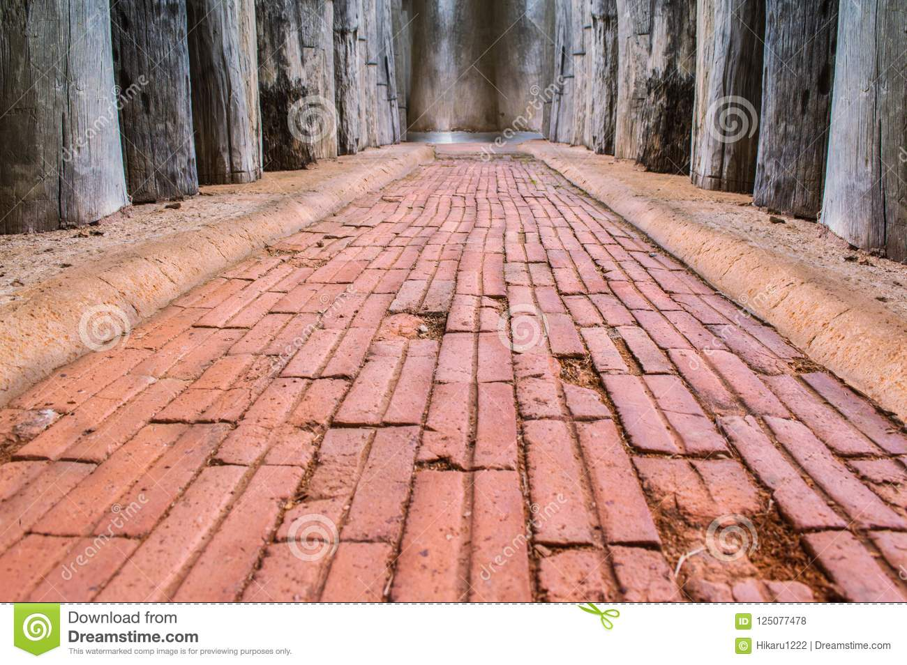 Walkway made by red bricks used as background and texture.