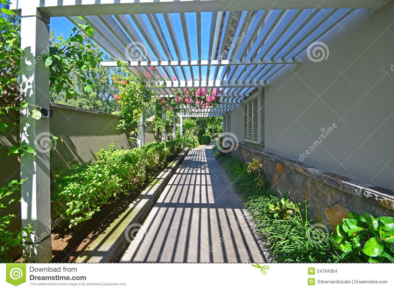 walkway with veranda like semi open wooden rooftop stock photo image 54784364. Black Bedroom Furniture Sets. Home Design Ideas