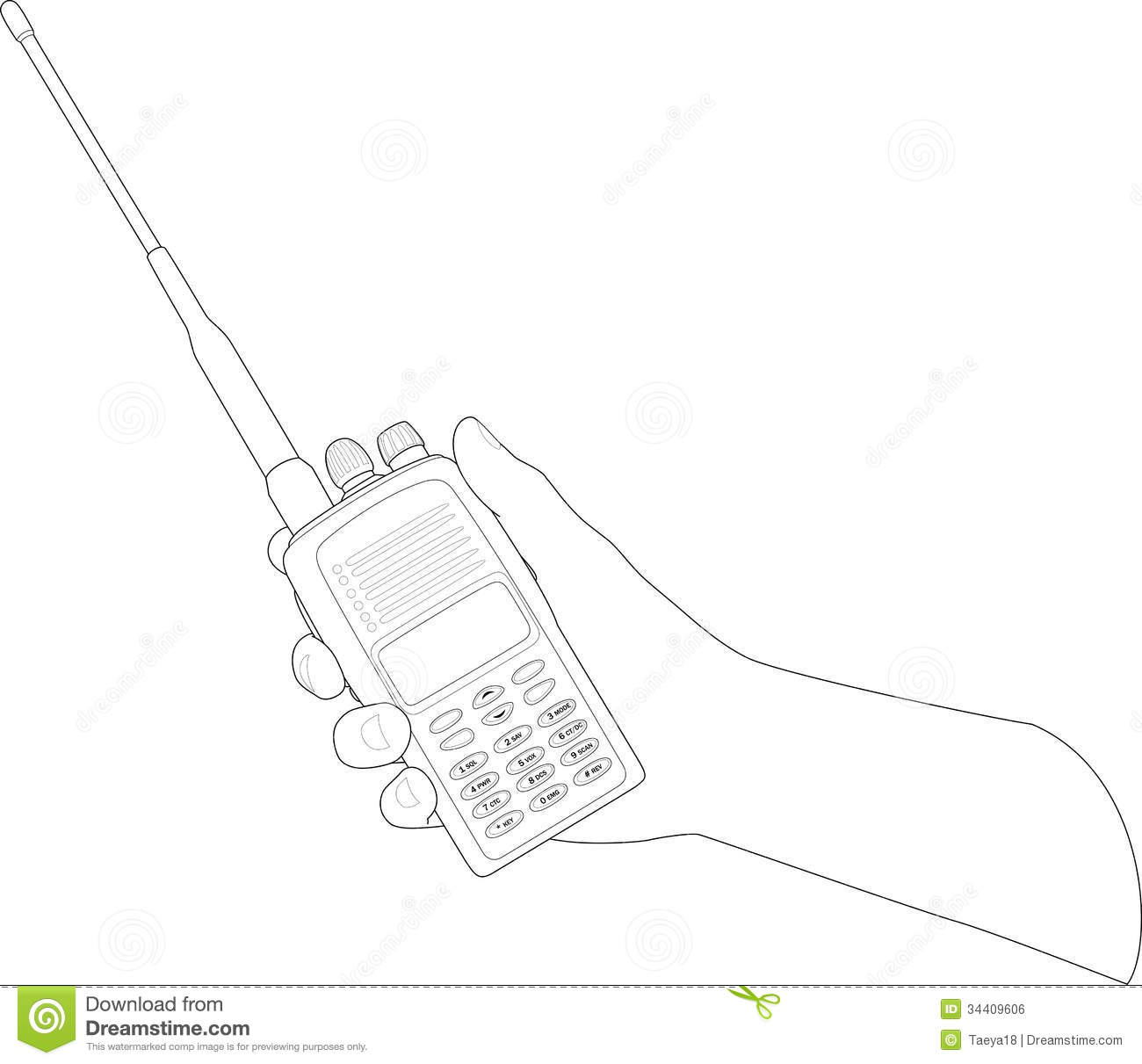 walky talky stock illustration  illustration of hand