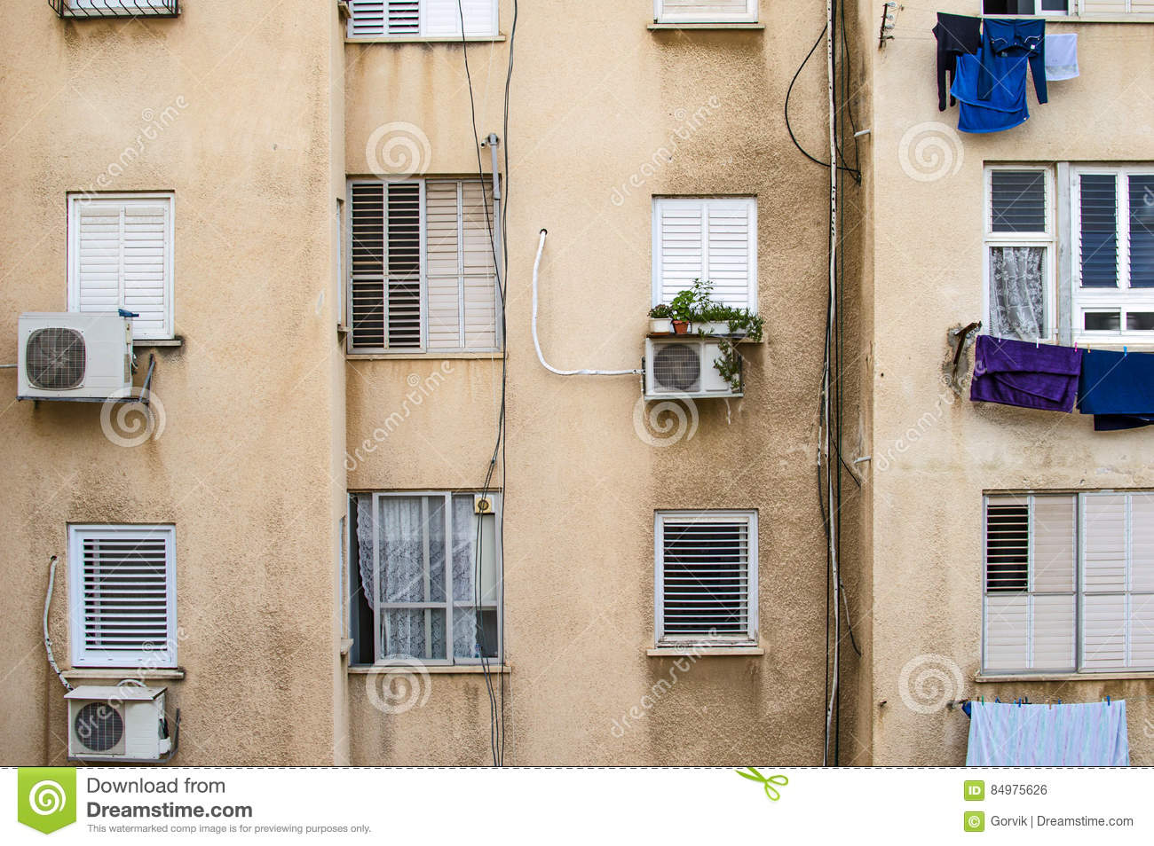 The wall of an apartment house