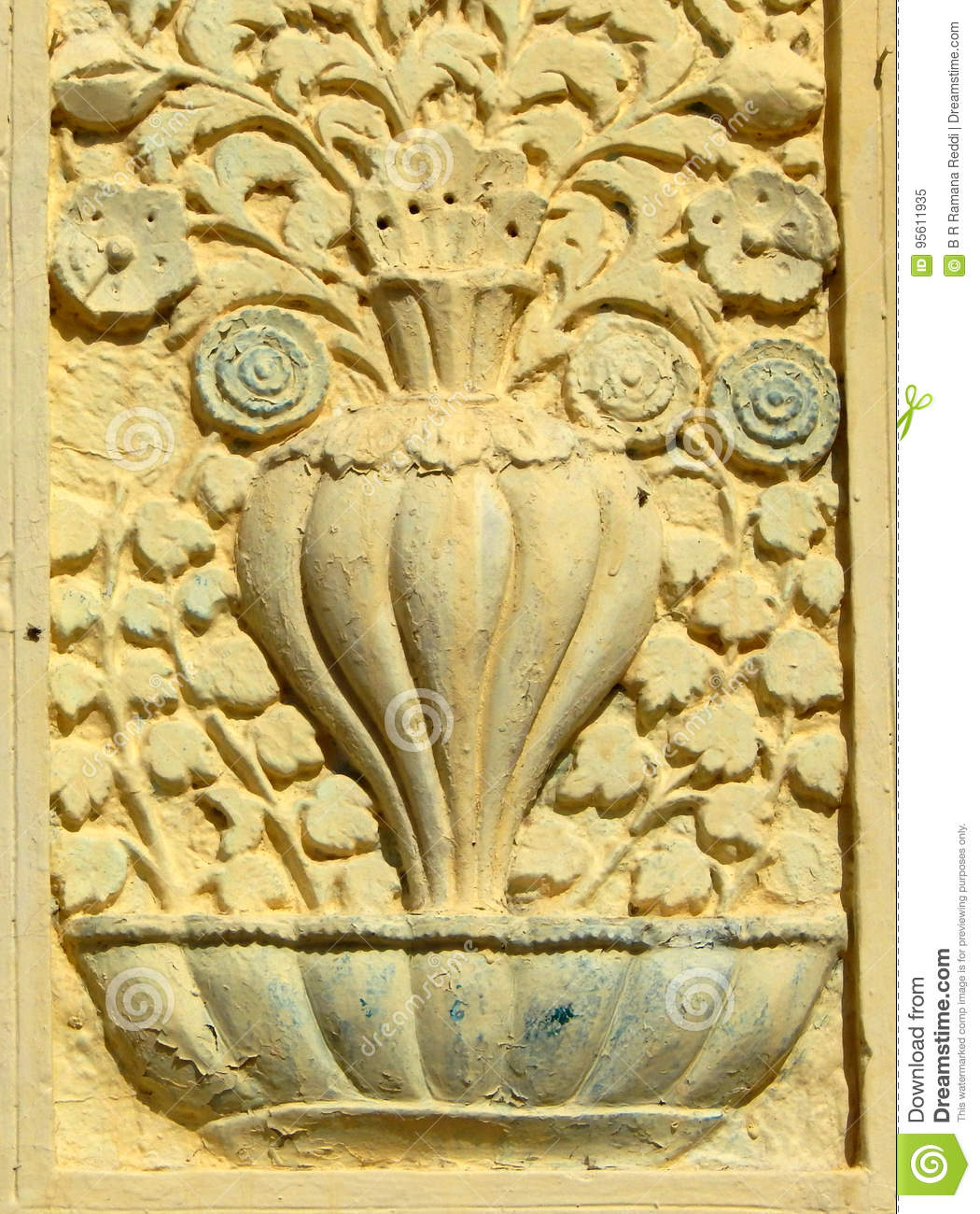 Wall Art And Floral Architecture Of 200 Year Old Temple Stock Image ...